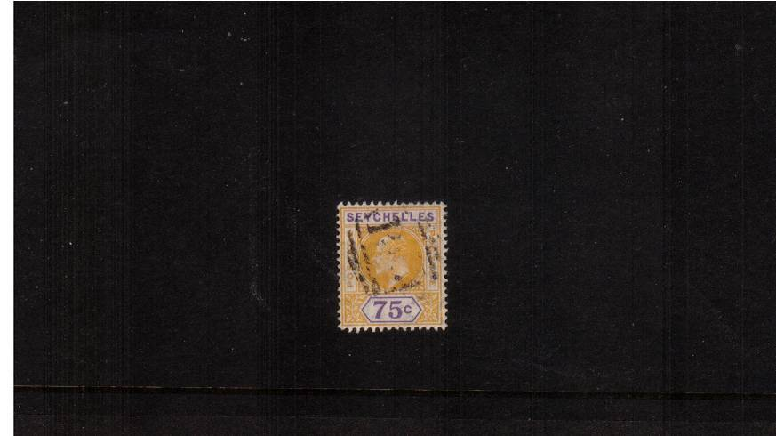 75c Yellow and Violet - Watermark Multiple Crown CA<br/>A good fine used single.