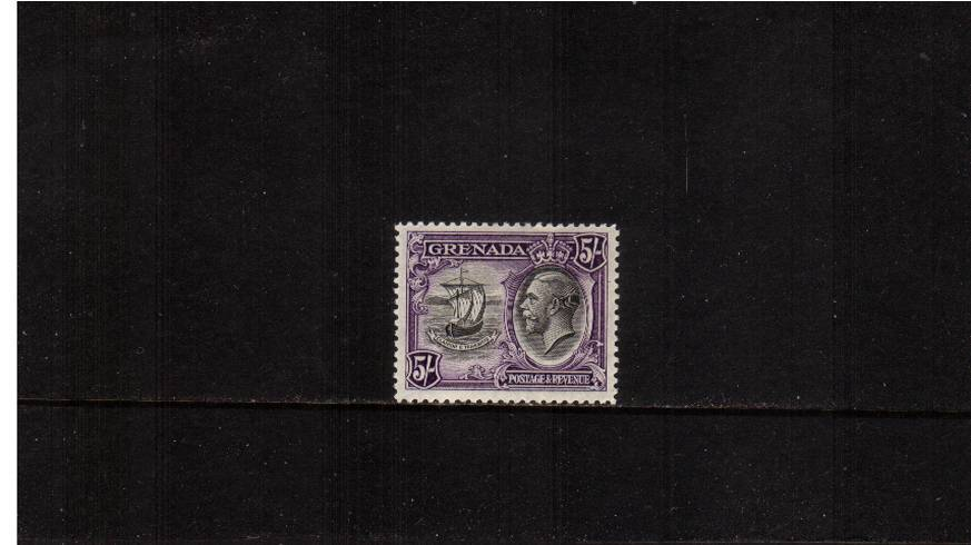 5/- Black and Violet.<br/>The top value of the definitive set lightly mounted mint.