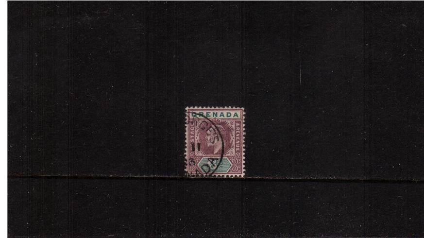 6d Dull Purple and Green - Watermark Crown CA<br/>