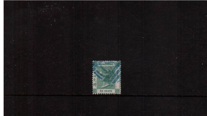 24c Deep Green - Watermark Crown CC<br/>A superb bright and fesh stamp attractively cancelled with a Blue Green cancel. Pretty. SG Cat � 