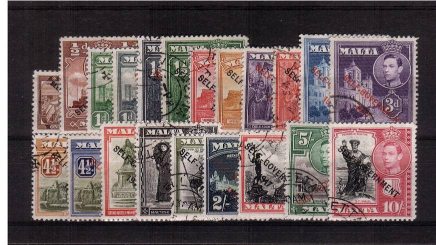 The ''SELF-GOVERNMENT 1947'' overprint set of twenty-one superb fine used with each stamp being a selected example.<br/><b>QDQ</b>