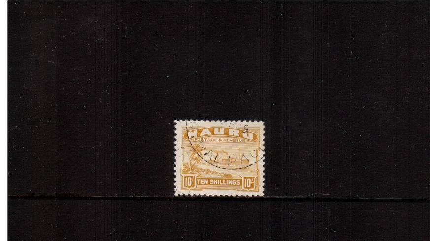 10/- Yellow - Shiny surfaced, white paper<br/>A stunning superb used single.