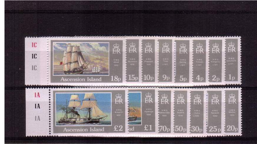 Ships - A superb unmounted mint set of fifteen all left side marginals with culinder numbers.