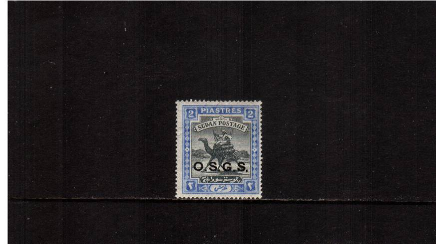 2p Black and Blue - O.S.G.S. overprint -  Crescent watermark.<br/>