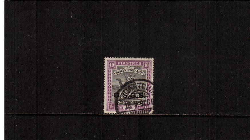 10p Black and Mauve - O.S.G.S. overprint - Crescent watermark.<br/>