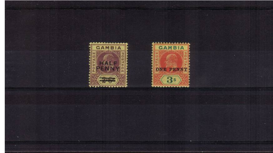 The surcharged set of two fine very lightly mounted mint. SG Cat �5