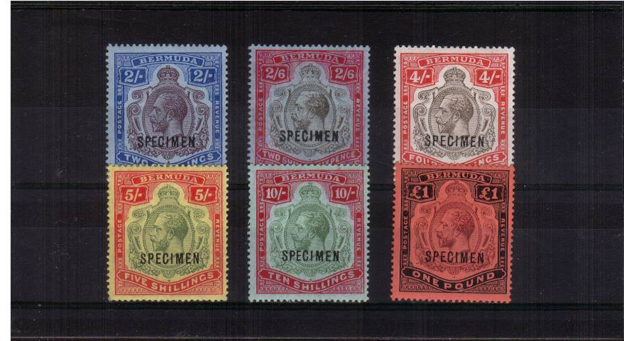 The ''High Value'' Key Types complete set of six very lightly mounted mint all overprinted ''SPECIMEN''. A rare set. Bright and fresh!
