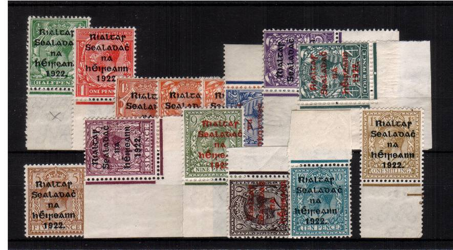 The THOM RIALTAS 5 line overprint set of fourteen superb unmounted mint with most being marginal or corner marginal examples. 
