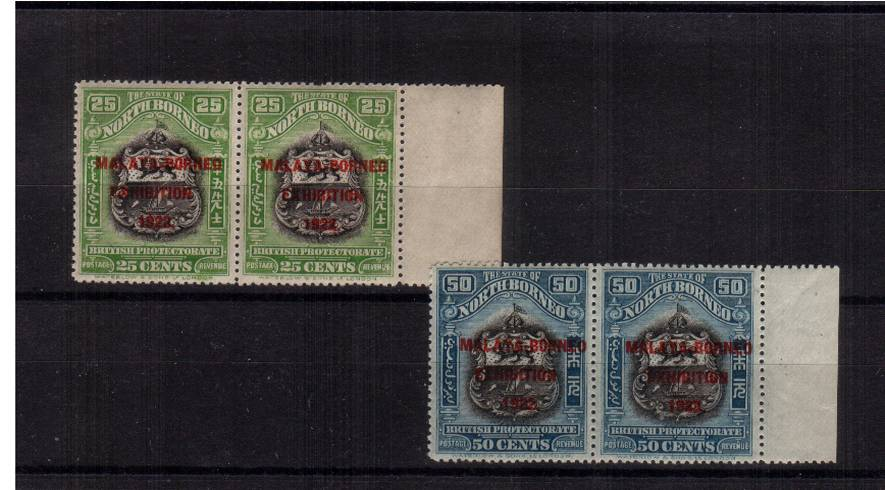 ''MALAYA - BORNEO EXHIBITION 1922'' overprint in unmounted mint matching right side marginal pairs on the 25c and 50c showing the SG illustrated re-entry on the stamp at left. Impossible to duplicate in unmounted pairs!