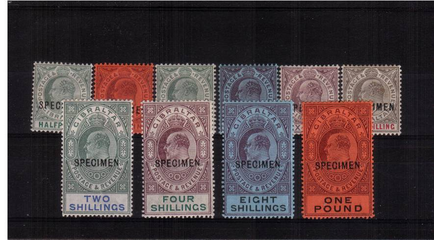 The complete Edward 7th set of ten lightly mounted mint overprinted ''SPECIMEN''<br/>SG Cat �0 