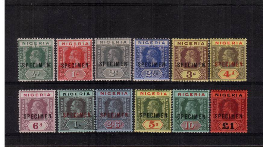 The First set of twelve fine, lightly mounted mint overprinted ''SPECIMEN''. 