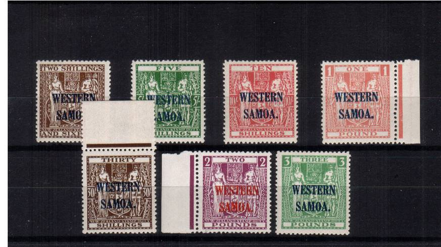 The WESTERN SAMOA overprint on the NEW ZEALAND ''Arms'' set of seven to the �Green all superb unmounted mint. SG Cat �0+
