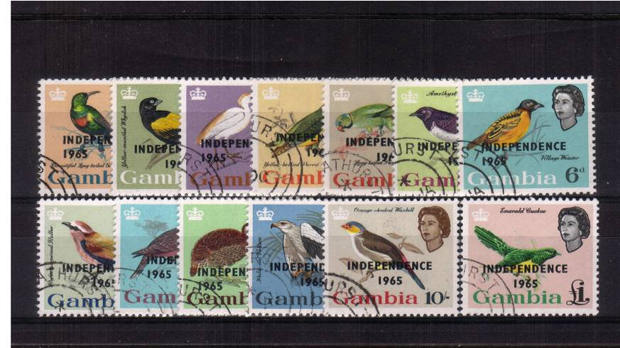 The ''1965 INDEPENDENCE'' overprint set of thirteen superb fine used.<br/><b>QJQ</b>