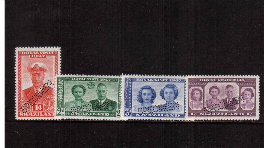 The 1947 ''ROYAL VISIT'' set of four lightly mounted mint perfined ''SPECIMEN''. Scare set.