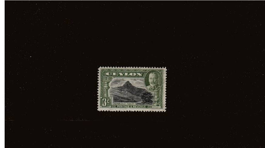 3c Black and Olive-Green - Perforation 14<br/>