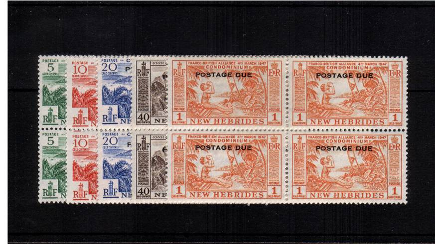 The Postage Due set of five in superb unmounted mint blocks of four.