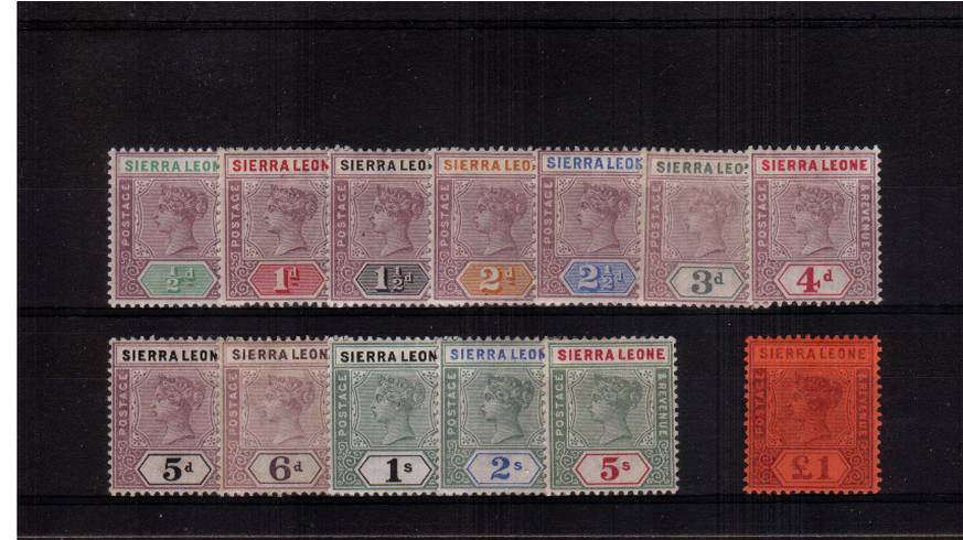 A superb bright and fresh very, very lightly mounted mint set of thirteen. The key value, the � is particularly nice with just a mere trace of a hinge mark. Superb!
