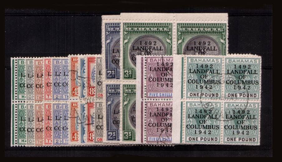 The ''LANDING OF COLUMBUS'' set of fourteen in superb fine used blocks of four with many being marginal.