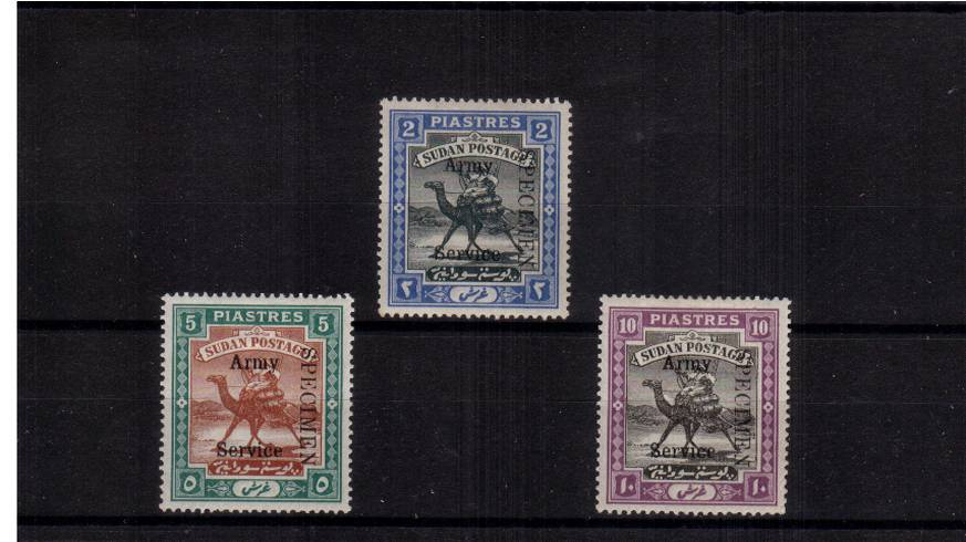 The ''ARMY SERVICE'' overprinted set of three lightly mounted mint also overprinted ''SPECIMEN''.