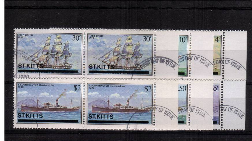 The Ships complete set of six superb fine used in right side marginal pairs showing on the stamp at left the listed SG variety ''NO STOP AFTER ST''. The set also has the bonus of being WATERMARK INVERTED !