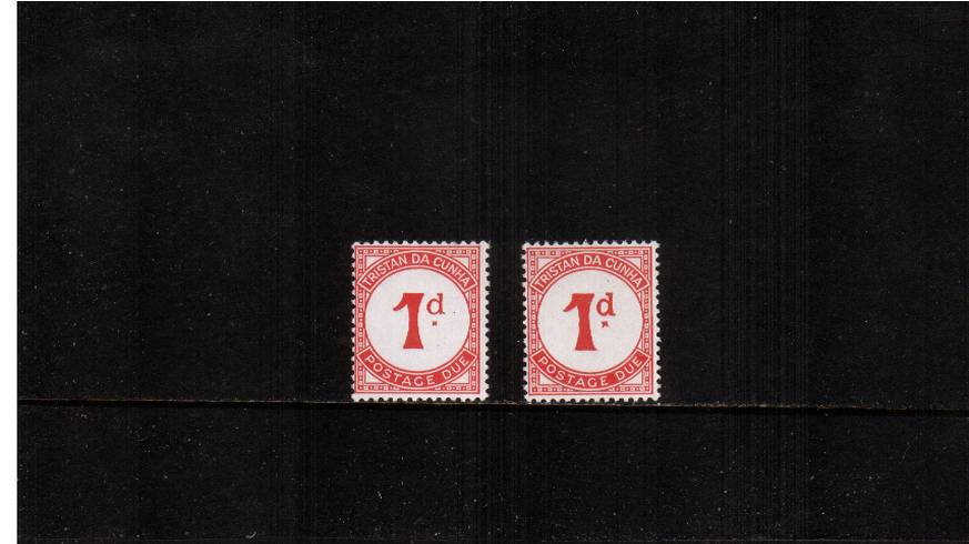 1d Scarlet POSTAGE DUE superb unmounted mint<br/>clearly showing the unlisted variety LARGE ''d'' with normal for comparison.