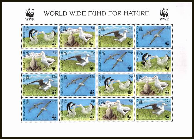 WWF - Endangered Species - Albatross sheetlet of sixteen.<br/>