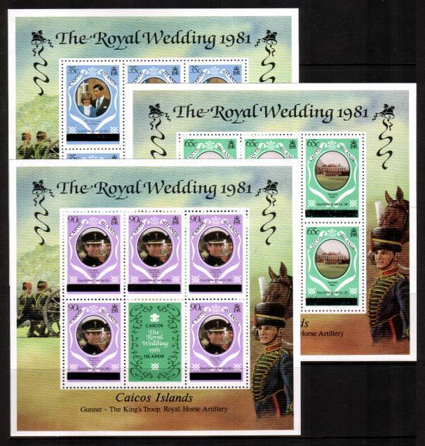 Royal Wedding set of three sheetlets - with New York overprint - Perf 12<br/>