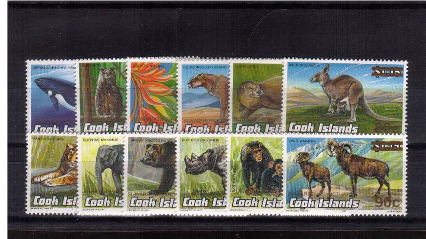 The SUWARROW SANCUTUARY overprinted and surcharged  set of twelve on various<br/>Endangered Wildlife issues superb unmounted mint.