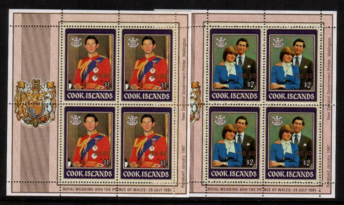 Charles and Diana pair of Royal Wedding sheetlets<br/>each stamp overprinted $9.40 superb unmounted mint. SG Cat �0 for singles