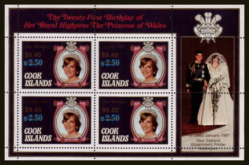 $9.40 on $2.50 Diana Minisheet superb unmounted mint.<br/>