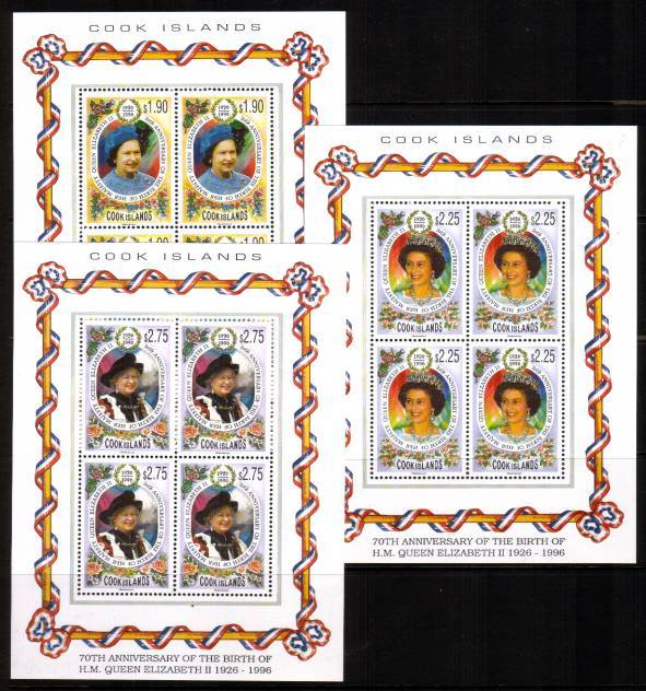 70th Birthday of Queen Elizabeth in special sheetlets of four superb unmounted mint