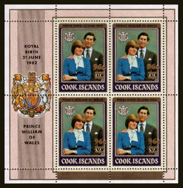 The 96c overprinted in error on the Diana - Birth of Prince William<br/>A complete sheetlet of four superb unmounted mint.