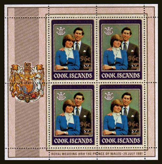 96c Surcharge on the $2 Charles and Diana Royal Wedding sheetlet of four.<br/>