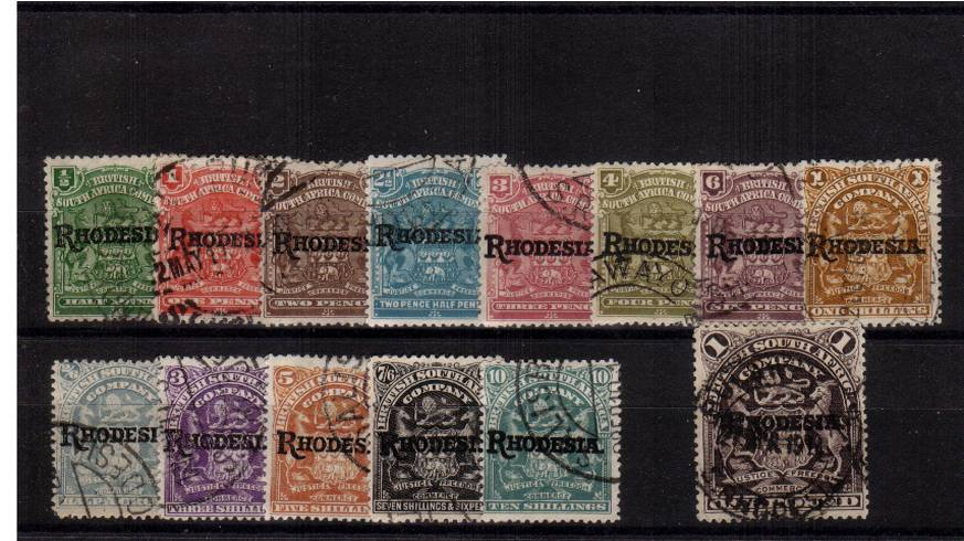 A very fine used set of fourteen to the �value with the top value cancelled with a central CDS. Superb!<br/>SG Cat �5