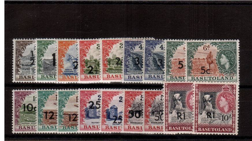 The surcharged basic set of eleven different superb unmounted mint plus seven addition values. Complete ''every which way'' set minus the 10c-25c-1R TYPE II stamps (Cat over �0).<br/>SG Cat �8 + for the eighteen.