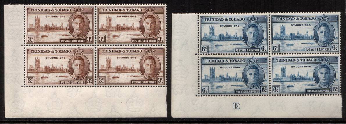 The Victory set of two in superb unmounted mint SW corner blocks of four<br/>with plate number on one value.