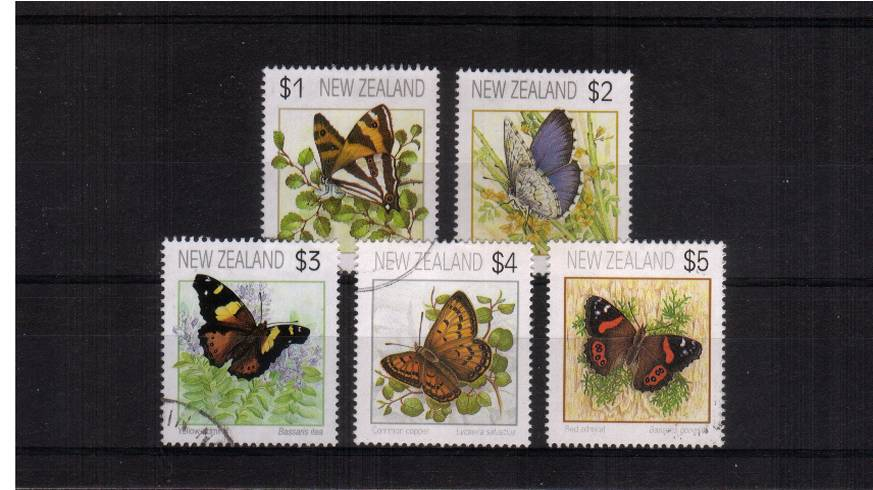 The Butterflies complete set of five<br/>Perforation 14½<br/>Superb fine used.