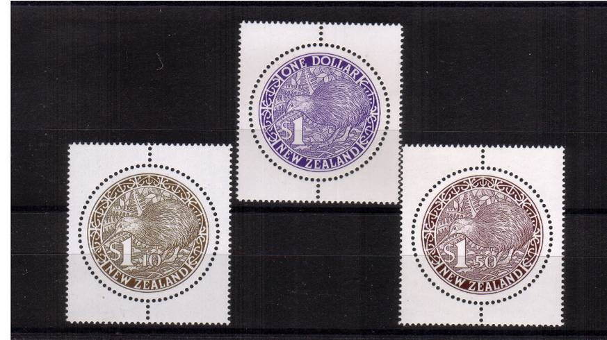 The Circular Kiwi set of three superb unmounted mint. 