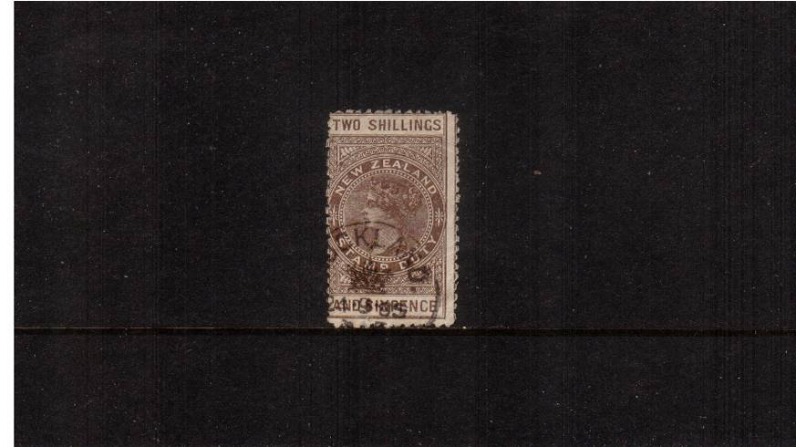 2/6d Grey-Brown - Perforation 11 Postal Fiscal<br/>A good used stamp with no faults cancelled with a fiscal cancel.