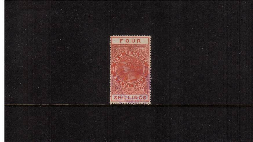 4/- Orange-Red - Perforation 14絰14 Postal Fiscal<br/>