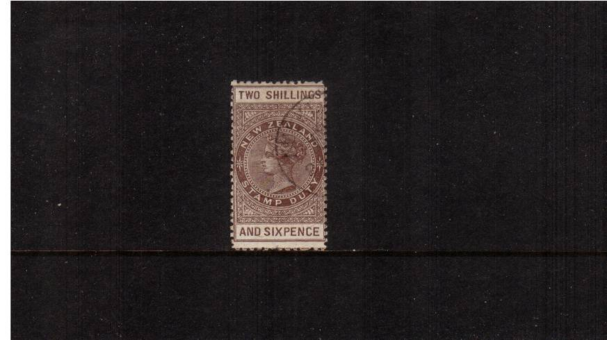 2/6d Grey-Brown - Perforation 12 Postal Fiscal<br/>A well centered single lightly cancelled with a light fiscal CDS. Pretty!