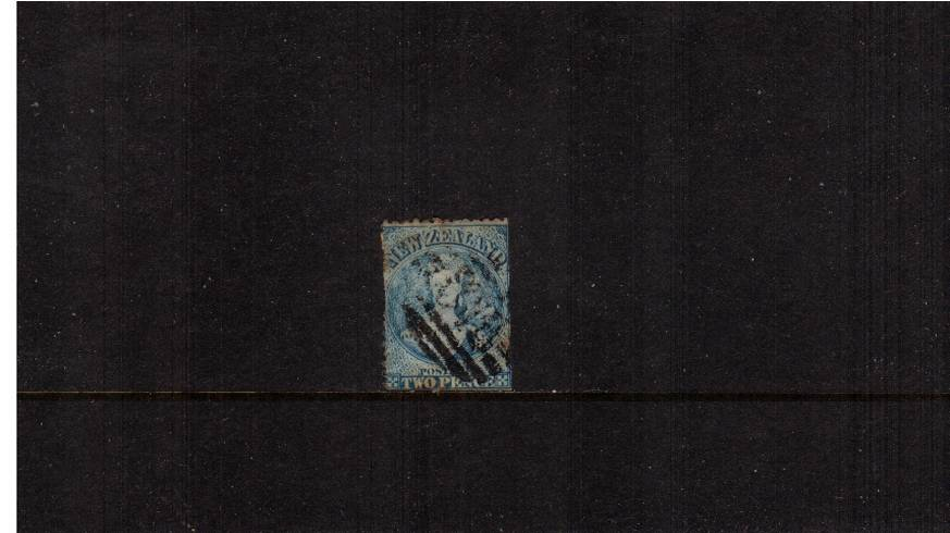 2d Pale Blue - Worn Plate - Watermark ''N Z'' - Perforation 13<br/>