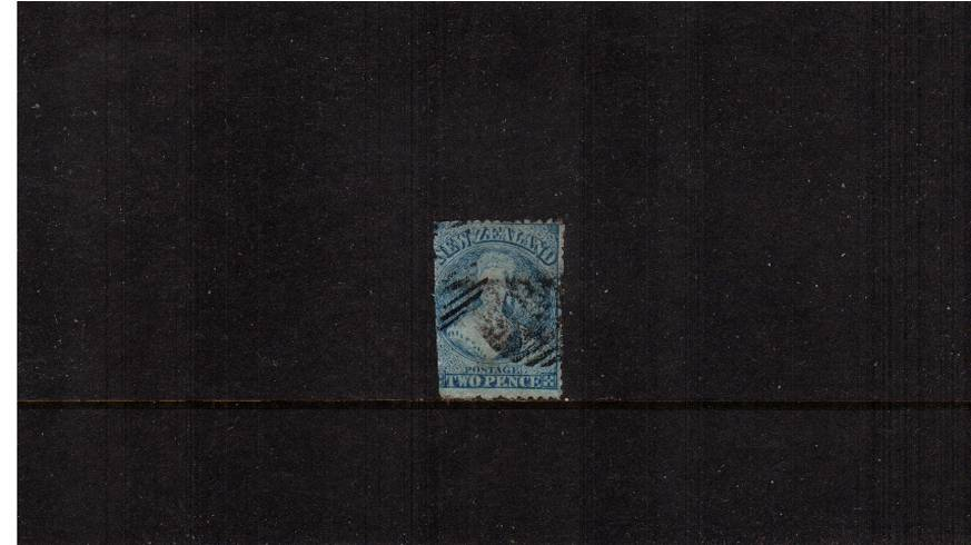 2d Pale Blue - Worn Plate - Watermark ''N Z'' - Perforation 12�br/>