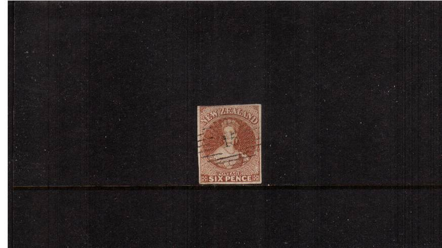 6d Brown - No Watermark - Imperforate<br/>A truly stunning four margined stamp crisply cancelled with a number ''15''. A little gem!   SG Cat �0