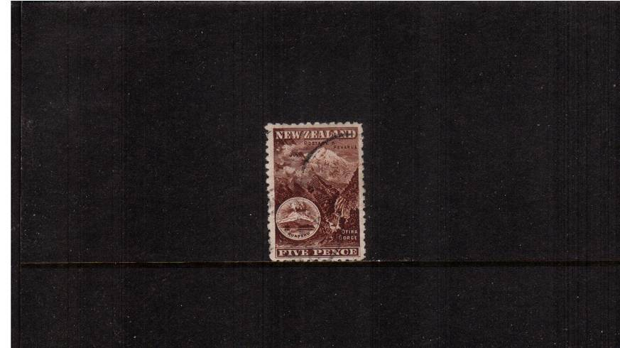 5d Red-Brown - ''Pictorials'' - Watermark ''Single'' NZ - Perforation 11<br/>A fine lightly used single. SG £8 