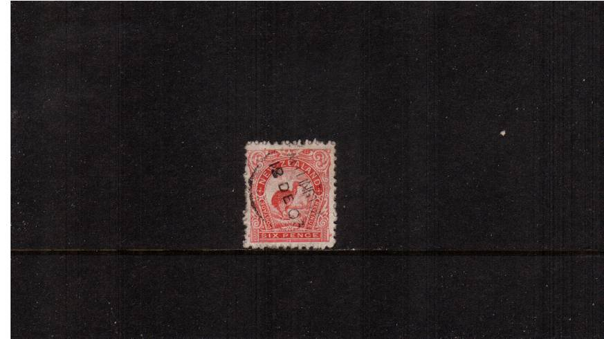 6d Rose - ''Pictorials'' - Watermark ''Single'' NZ - Perforation 11<br/>