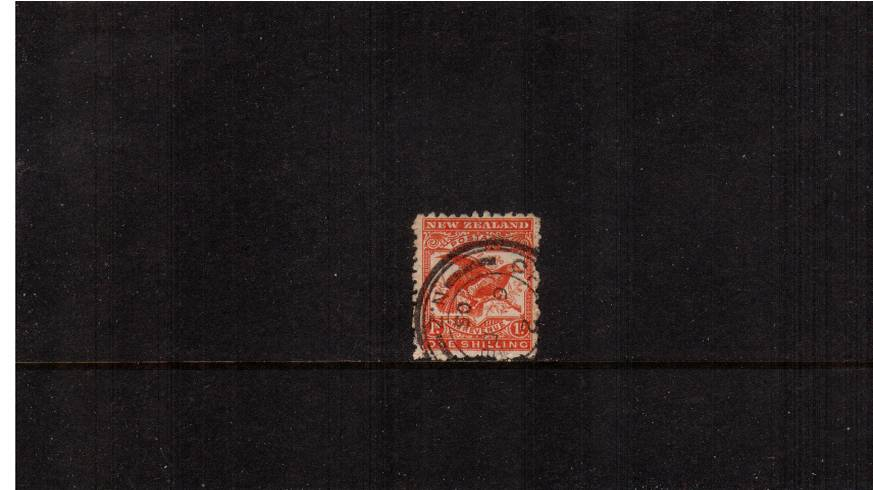 1/-  Bright Red - ''Pictorials'' - Watermark ''Single'' NZ - Perforation 11<br/>