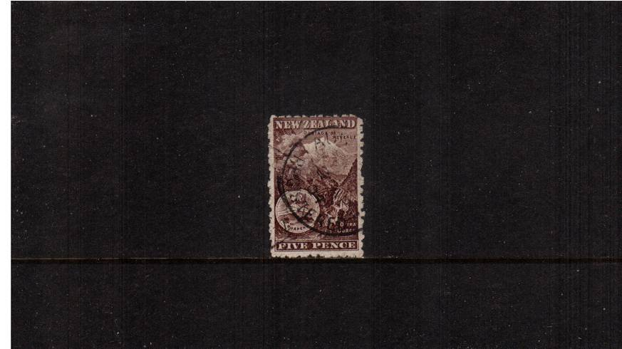 5d Deep Brown - ''Pictorials'' - Watermark ''Single'' NZ - Perforation 11<br/>