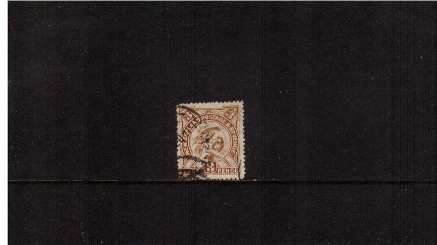 3d Bistre-Brown  - ''Pictorials'' - Watermark ''Single'' NZ - Perforation 14<br/>