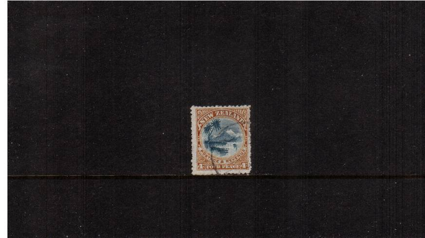 4d Blue and Chestnut  - ''Pictorials'' - Watermark ''Single'' NZ - Perforation 14<br/>